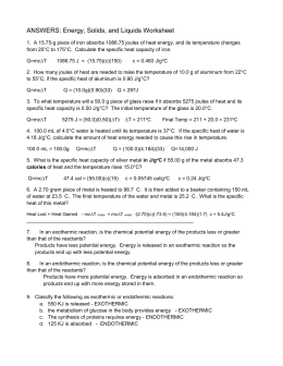 Worksheet Thermochemistry I Answers