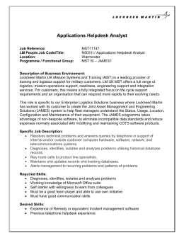 N5031I / Applications Helpdesk Analyst