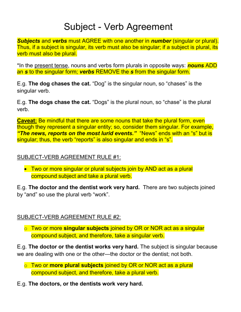 Subject Verb Agreement Rule 1