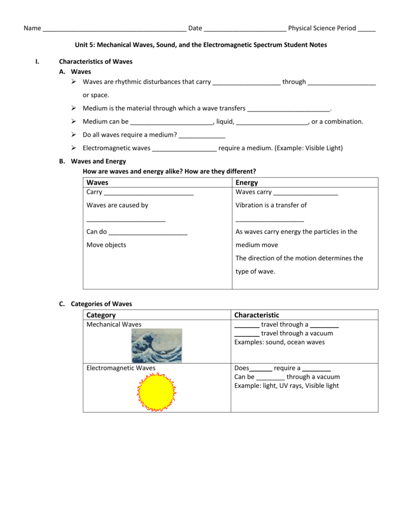 Waves and electromagnetic Spectrum Guided Notes – Characteristics of Waves Worksheet