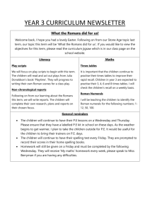 CURRICULUM NEWSLETTER SUMMER TERM