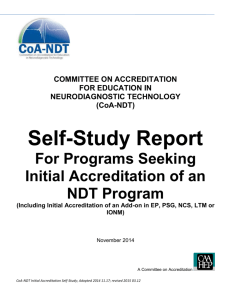 Self-Study Report for INITIAL Accreditation of an NDT Program