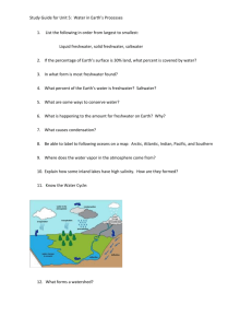 Study Guide for Unit 5: Water in Earth`s Processes List the following