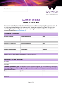 Application form - University of Warwick