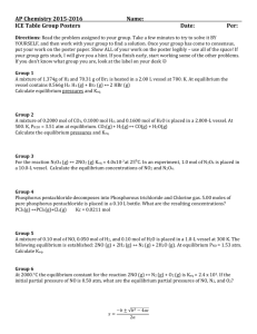AP CHEMISTRY – WORKSHEET (Keq Questions)