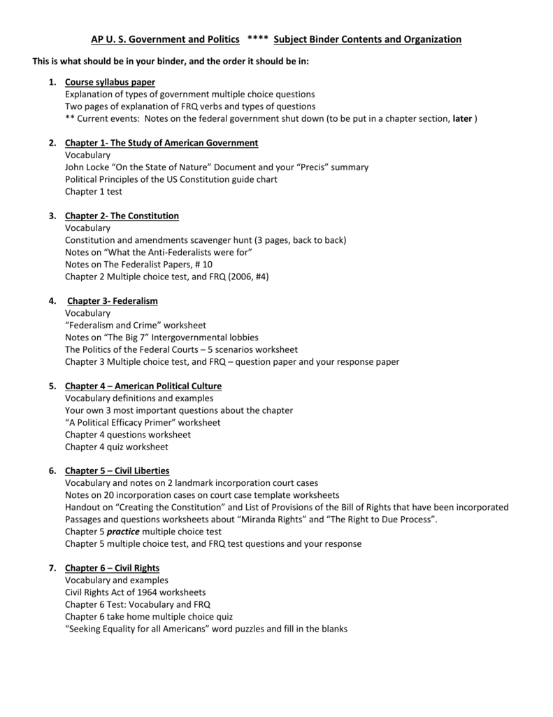AP U S Government and Politics Subject Binder Contents and – Us Government Worksheets