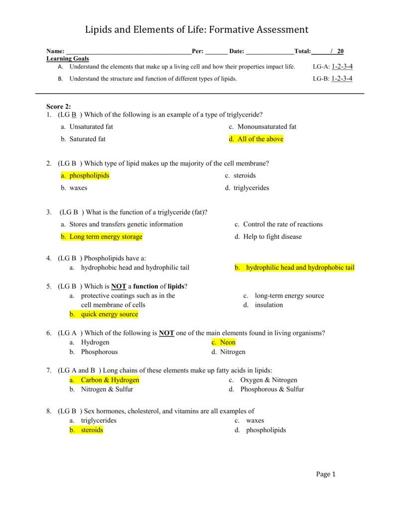 Practice Quiz on Lipids: Answer Key