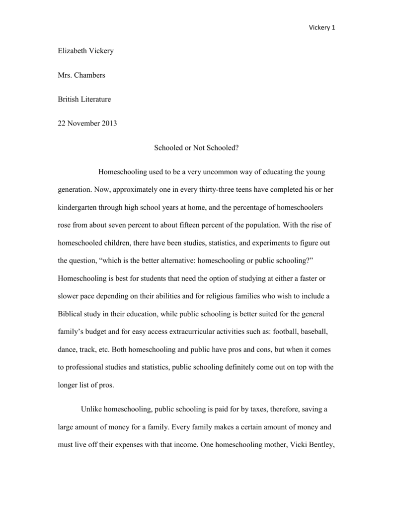 research paper on homeschool