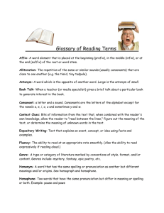 Glossary of Reading Terms