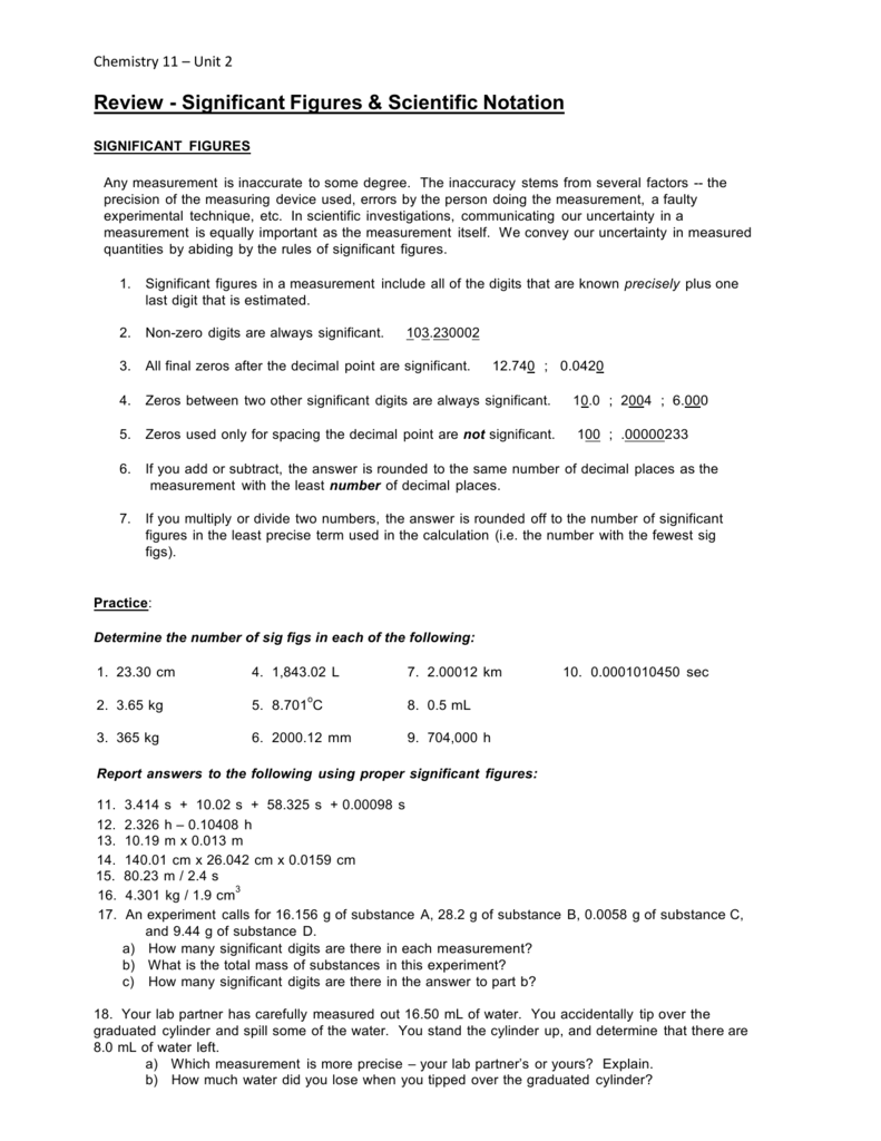 Scientific Notation & Sig Figs Worksheet