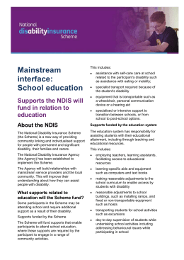 Fact sheet: Supports the NDIS will fund in relation to education