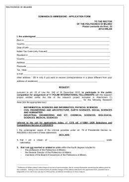 Application Form - Politecnico di Milano