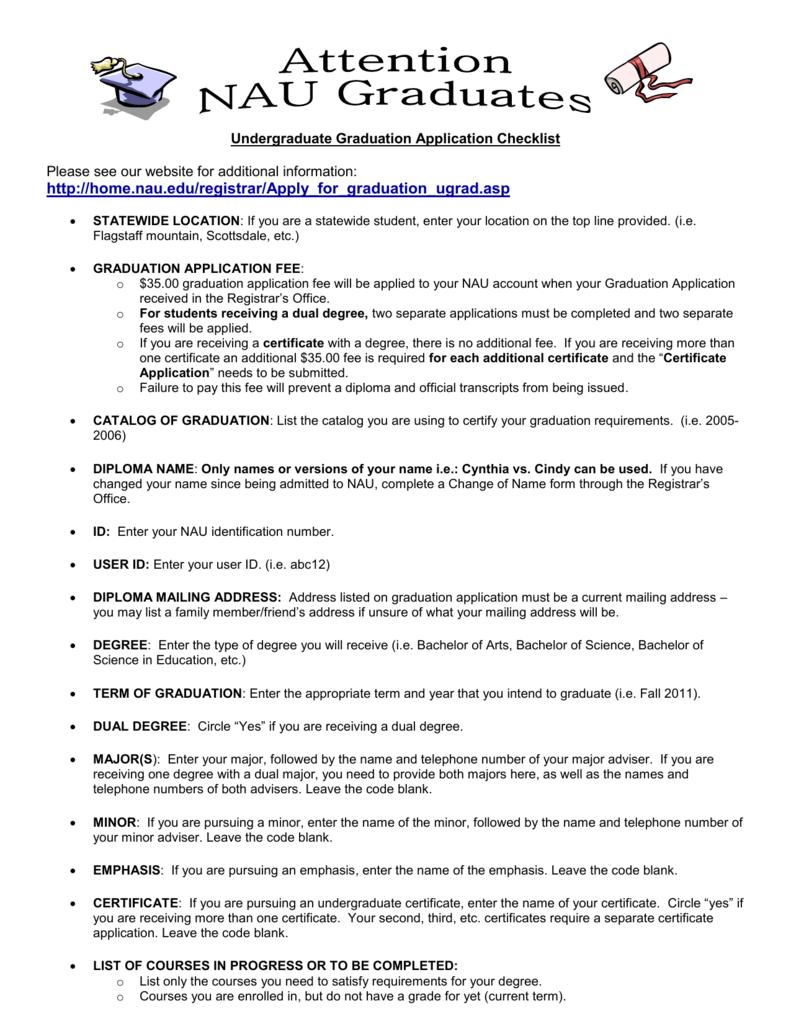 Attention Nau Graduates Undergraduate Graduation Application