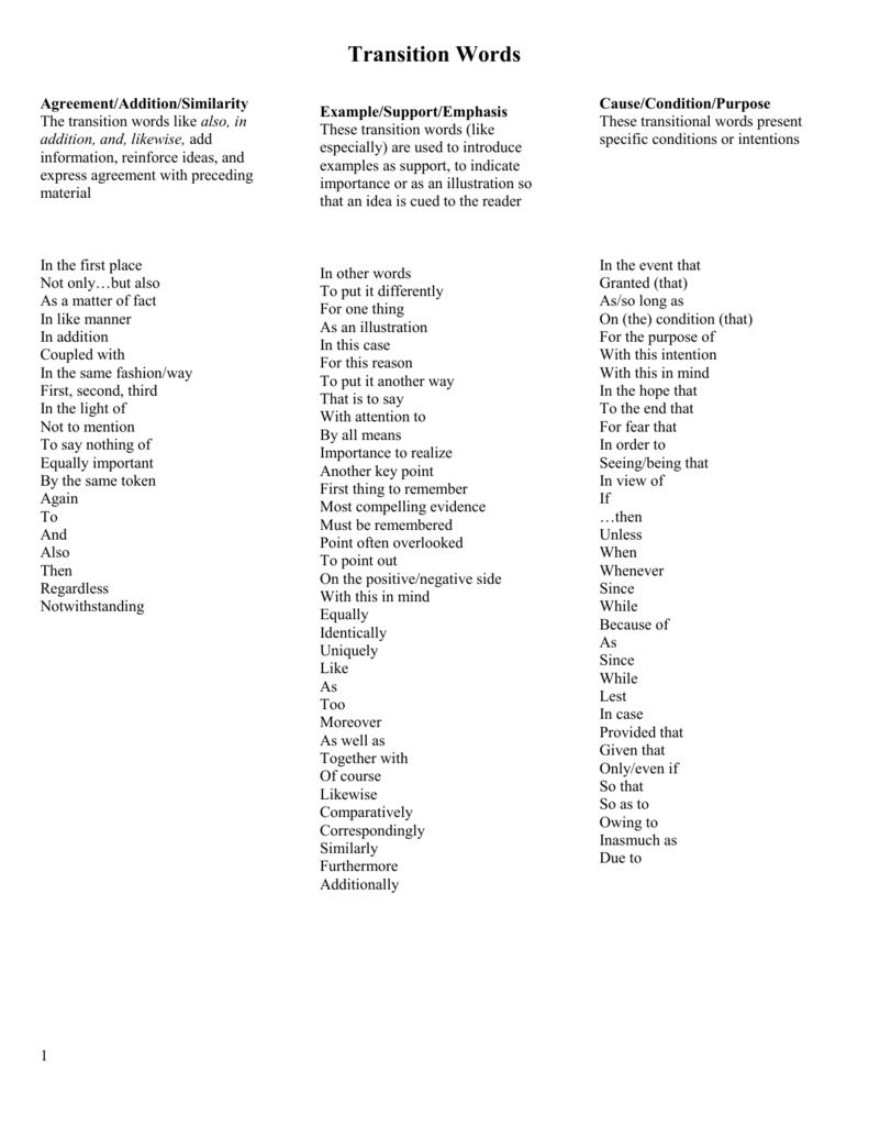 Agreement/Addition/Similarity