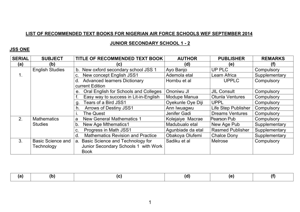 list of recommended text books for nigerian air force schools