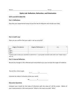 Reflection Refraction Worksheet