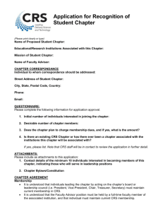 Application for Recognition of Student Chapter