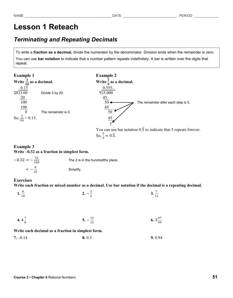 Reteach Worksheet