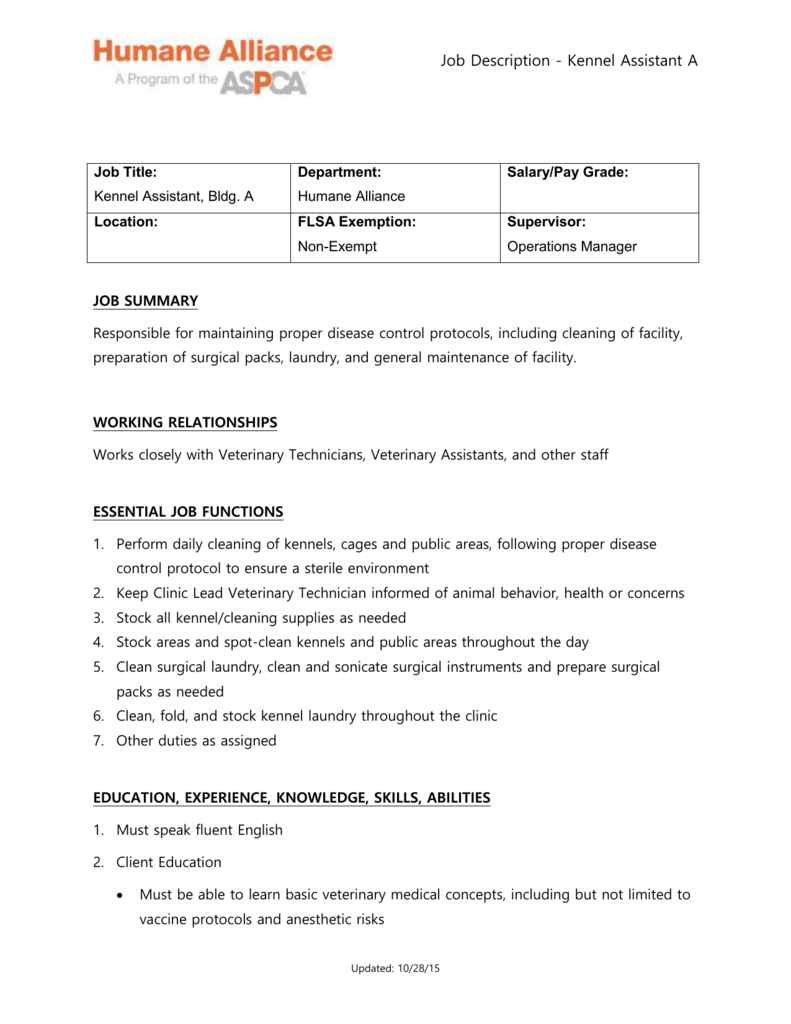 Kennel Assistant A