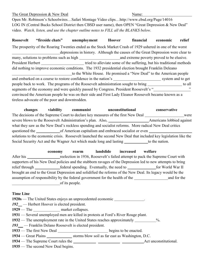 great depression and new deal video worksheet