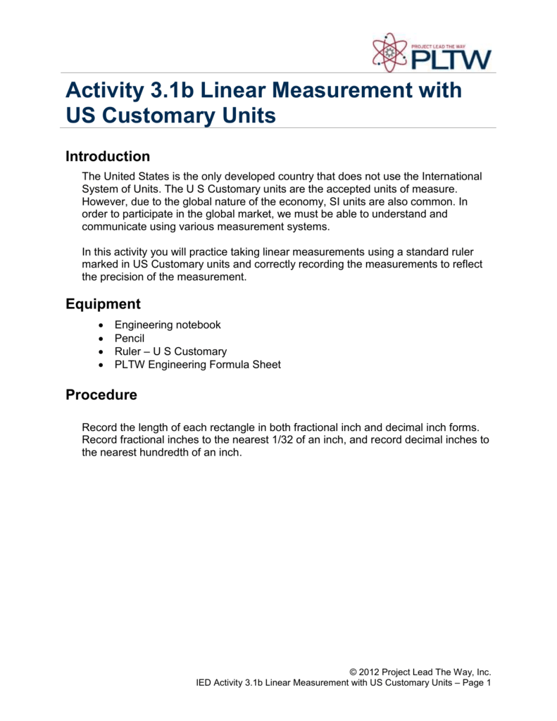 Activity 31b Linear Measurement with US Customary – Linear Measurement Worksheets