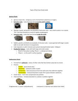 Types of Rock Quiz Study Guide Igneous Rocks Igneous means fire