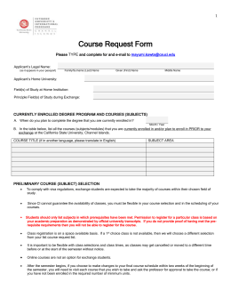 Course Request Form for Exchange - California State University
