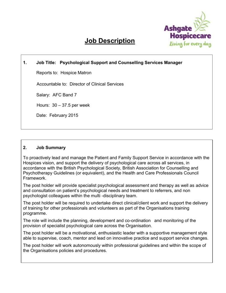 job description ashgate hospicecare