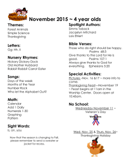 November Topics Miss Suzan*s Class 2012
