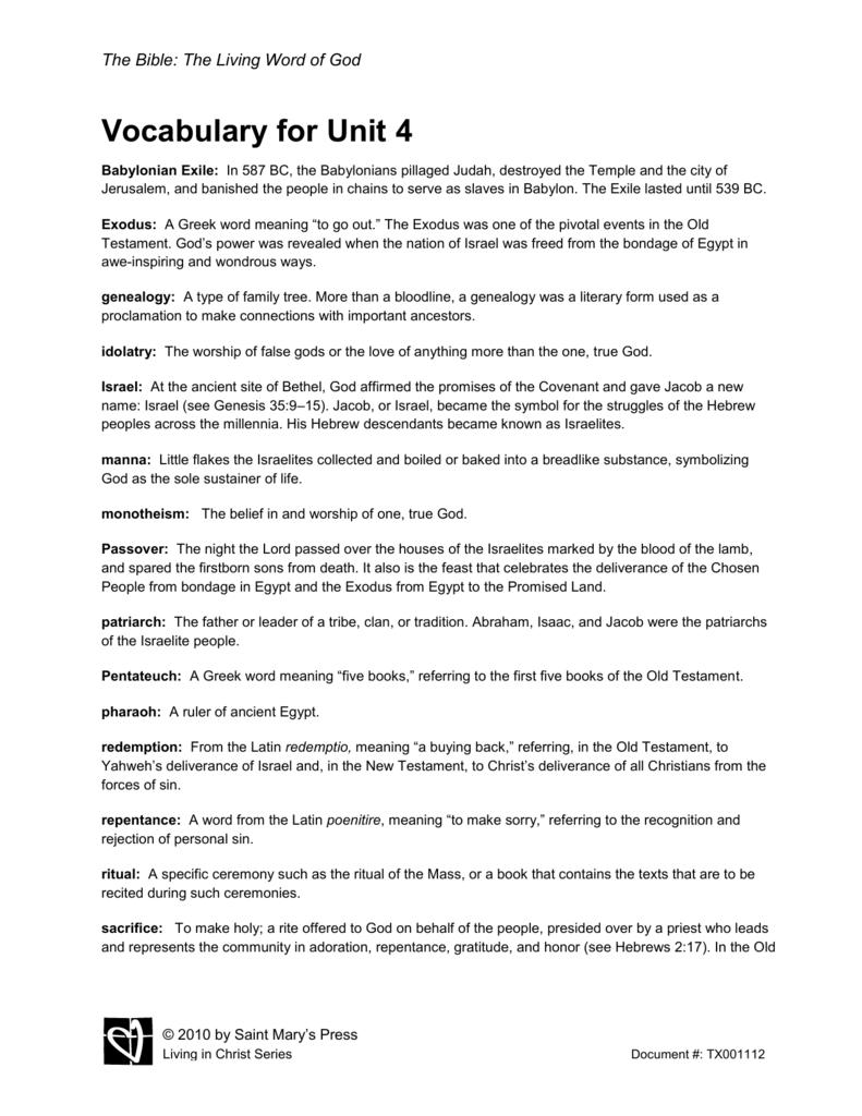 Vocabulary for Unit 4