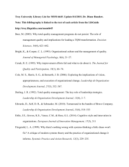 Troy University Library List for MSM 6645. Update 8/4/2015, Dr
