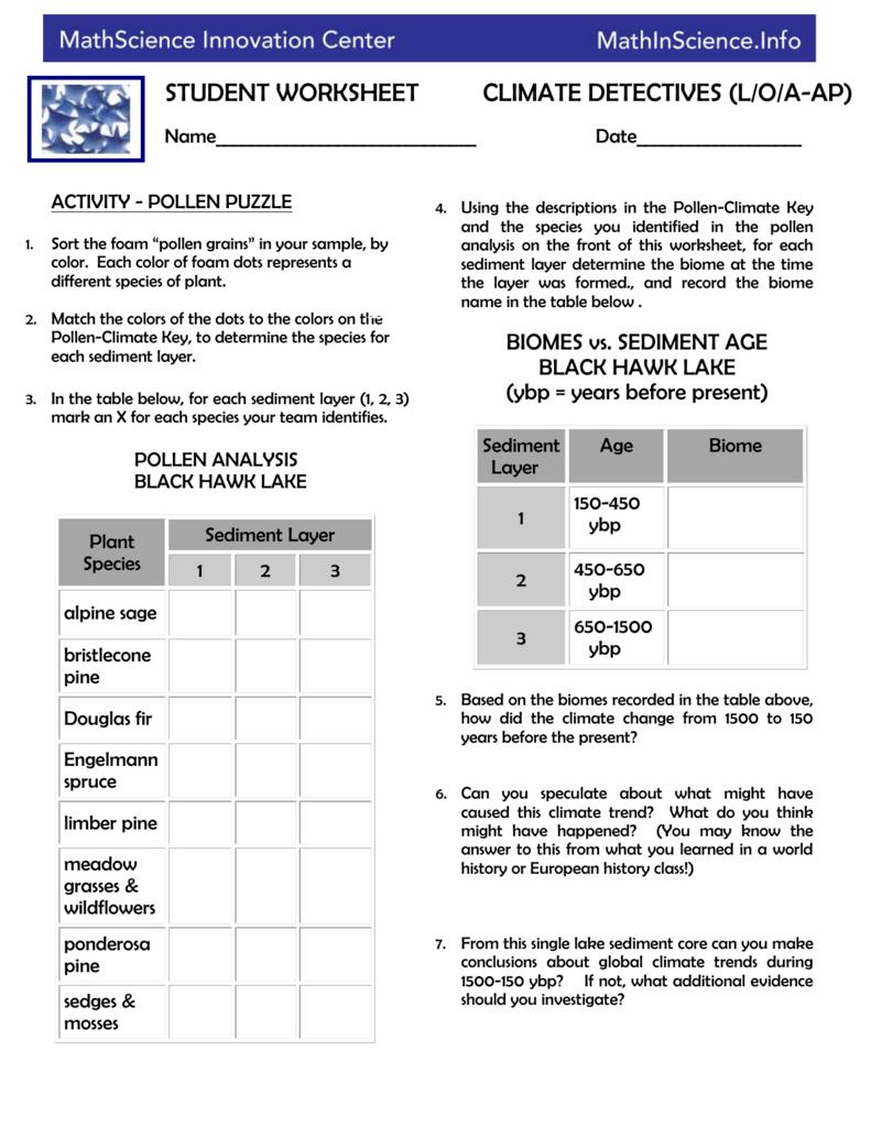 Combination Worksheet Land/Ocean