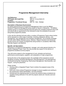 Programme Management Internship