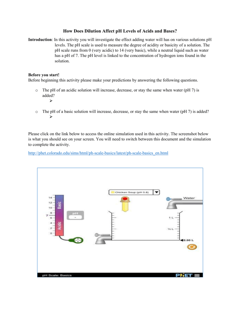Phet pH Scale Basics Worksheet