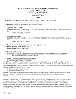 MINUTES FOR THE SELDOVIA PLANNING COMMISSION