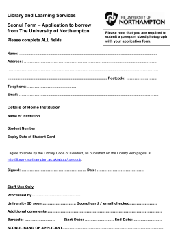 SCONUL borrower associate membership form