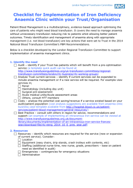 Checklist - UK Blood Transfusion and Tissue Transplantation Services