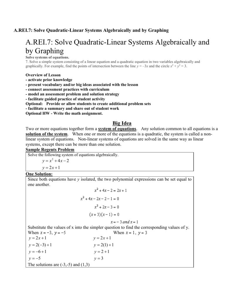 A REI 7: Solve Quadratic-Linear Systems Algebraically and