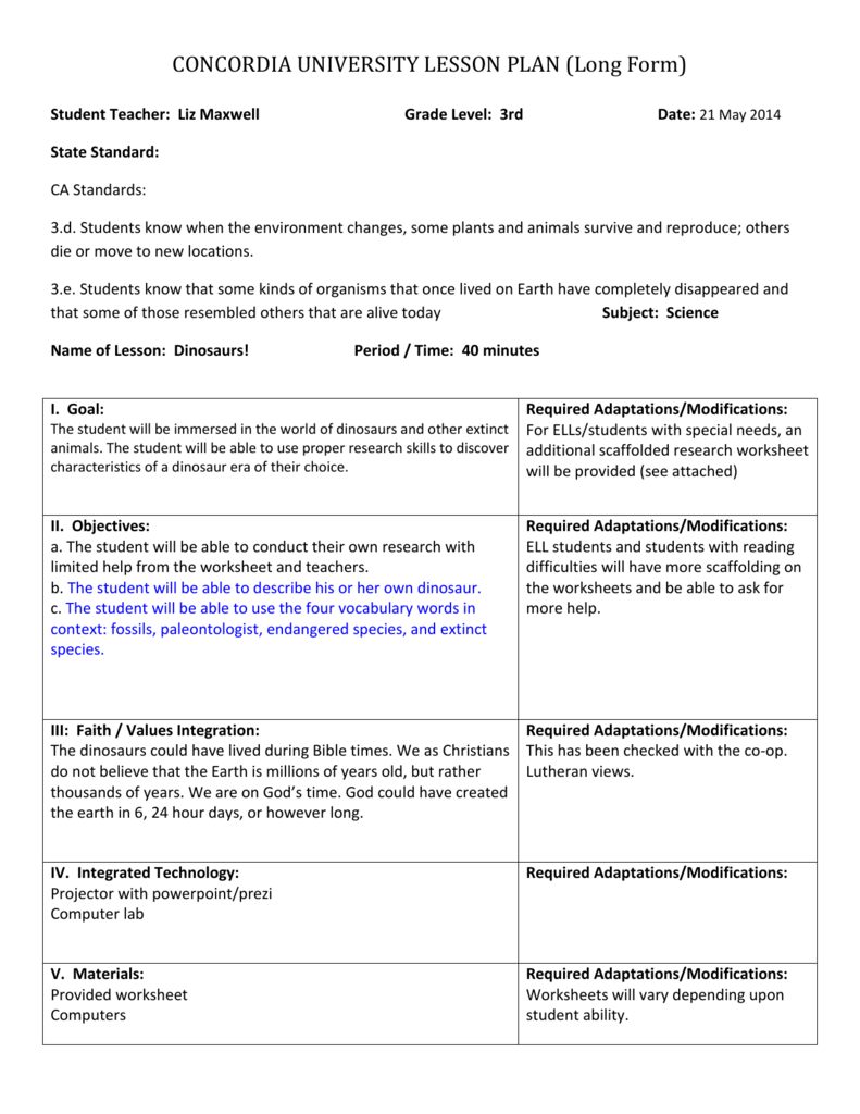 CONCORDIA UNIVERSITY LESSON PLAN (Long Form) Student