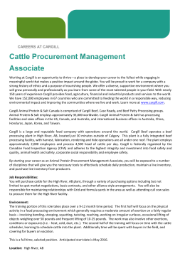 Cattle Procurement Management Associate