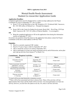 MHNA Application Form 2013 - UBC Mental Health Awareness Club