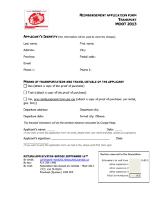 Reimbursement application form Transport MOOT 2013 Applicant`s