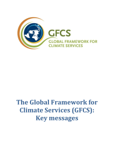 The Global Framework for Climate Services (GFCS): Key messages