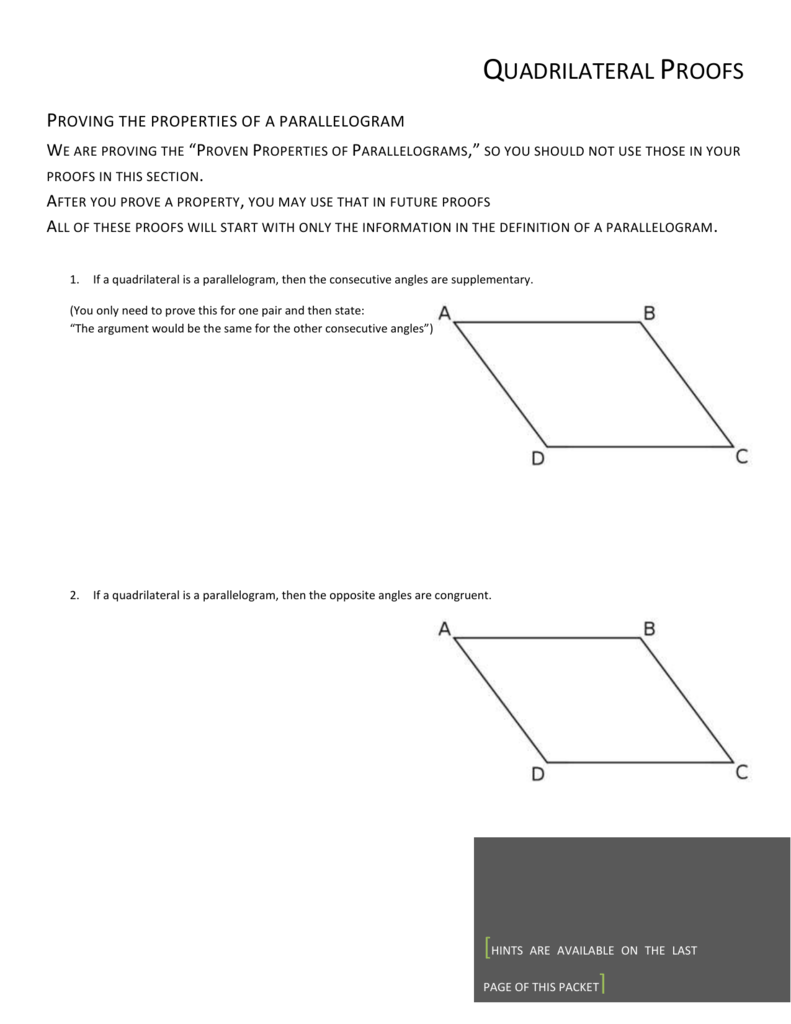 Proving that a quadrilateral is a parallelogram