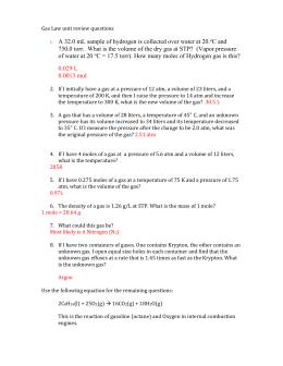 Avogadro S Law Worksheet Name