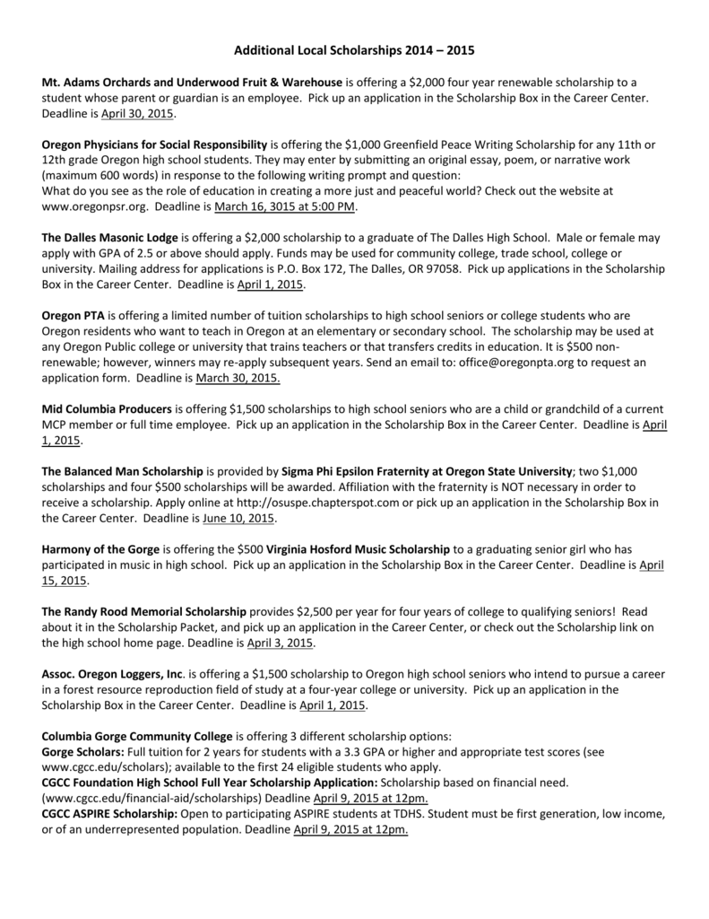 Additional Local Scholarships - Columbia Gorge Community College