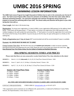 2016 Spring Swim Lesson Information/Registration (New!)