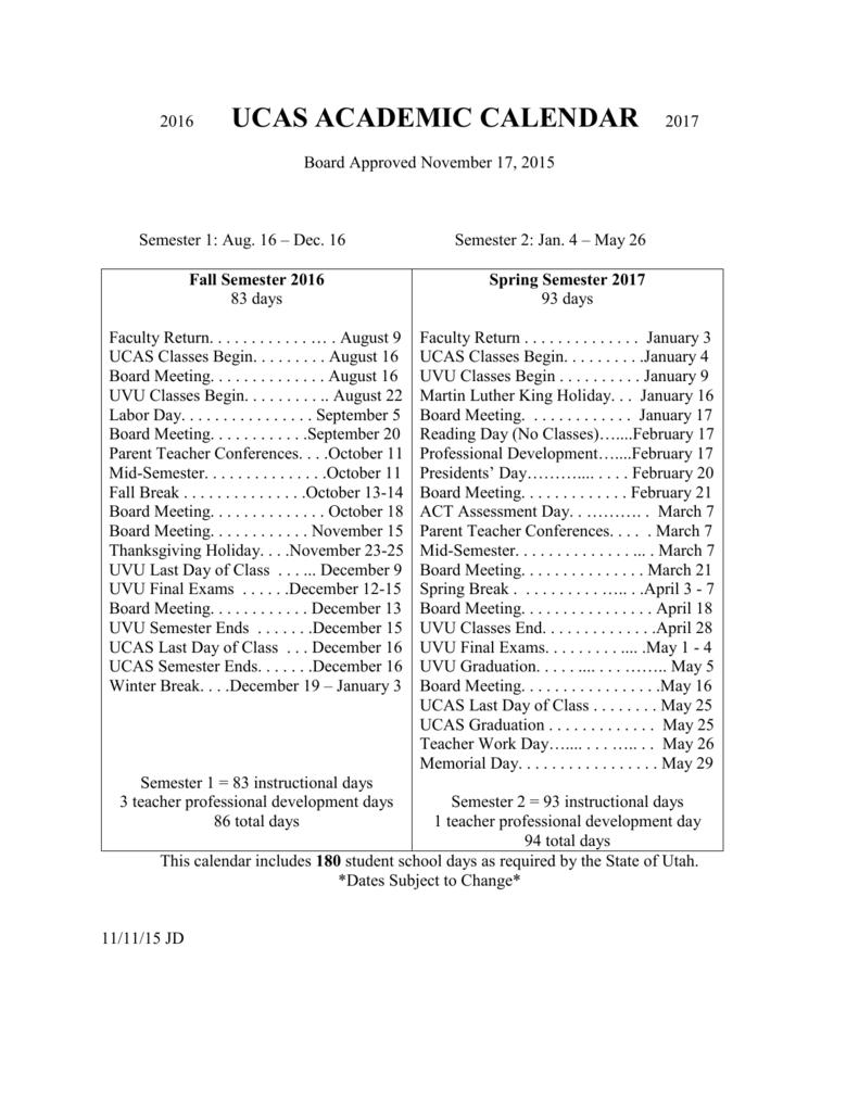 Uvu Academic Calendar.Link To 2016 2017 Academic Calendar