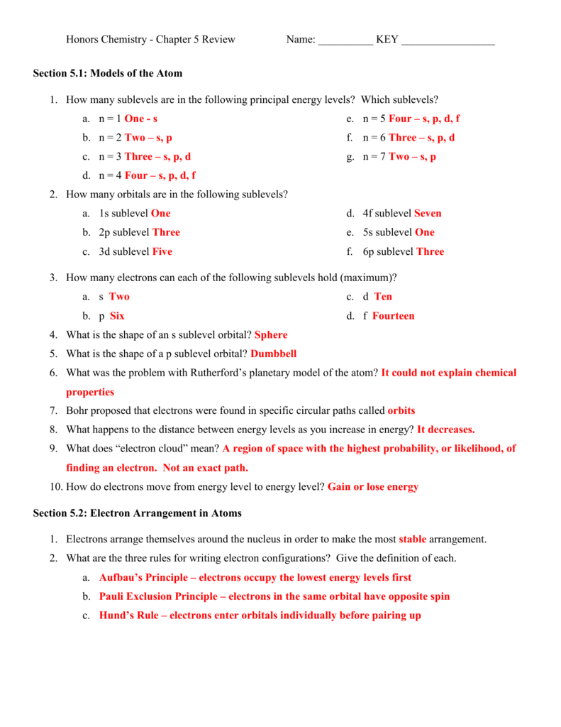 worksheet Models Of The Atom Worksheet Answers chapter 5 review answers