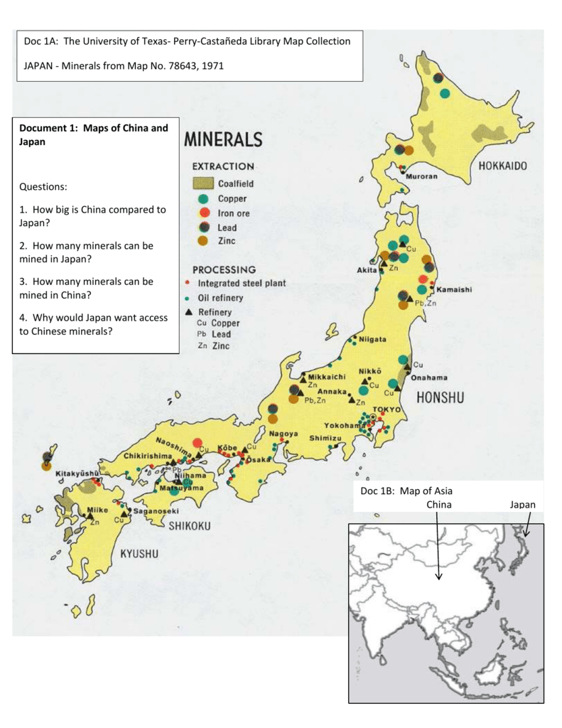 Japan Builds An Empire DBQ - Japan map questions